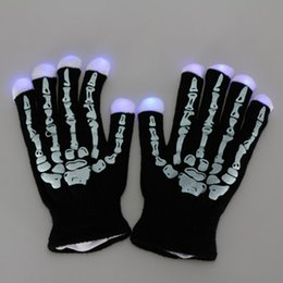 Wholesale Luminous Gloves - Skeleton Rave Gloves Flashing Light Led luminous Finger Lighting Christmas Gift Magic Glitter Halloween Party Gloves birthday Toy