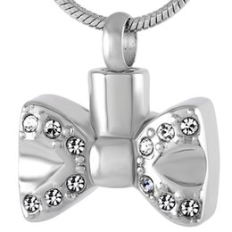 Wholesale Rhinestone Bow Tie Charms - IJD9214 Bow Tie Stainless Steel Cremation Pendant Necklace Crystal Memory Ashes Keepsake Urn Holder Memory Necklace