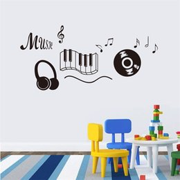 Wholesale Peel Life - 118x56cm Cartoon Music Headphone Design Wall Sticker Removable Art Mural for Home Decoration Children's Bedroom Kids Room