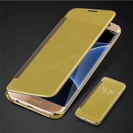 Wholesale Iphone Window Flip - For Samsung S8 Plating Mirror Leather Case Clear Window View Chrome Flip Electroplate Phone Case Cover for Galaxy S7 S6 edge