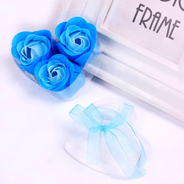 Wholesale Wedding Gift Display Boxes - 3Pcs Romantic Soap Flower Patals With Heart-Shaped Transparent PVC Box Scented Soap Flowers Wedding Favors Party Gifts