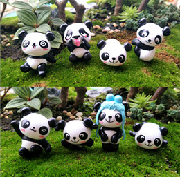 Wholesale Panda Ornament - 8pcs Panda Bear fairy garden miniatures for terrariums resin figurine ornament Landscaping material jardins Potted decor
