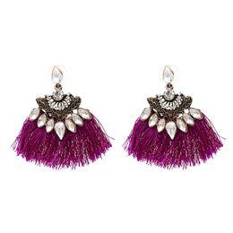 Wholesale Chinese Earrings Wholesale - Exaggerate Women Ethnic Vintage Earrings Fringe Earrings Handmade Chinese Jewelry Tassel Earrings brincos pendientes