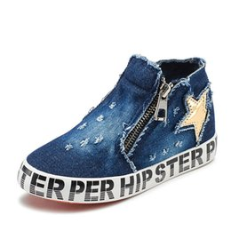 Wholesale Denim Diamonds Shoes - WENDYWU Children Shoes 2017 New Spring Autumn Kids Diamond canvas shoes Fashion Boys Girls Denim Shoes Zipper star Breathable