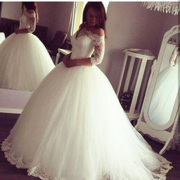 Wholesale elegant long sleeve silver gowns - 2017 Elegant Sheer Long Sleeve Off the Shoulder Wedding Dresses Ball gown Tulle Lace Appliqued Bridal Gowns Corset Back Plus Size