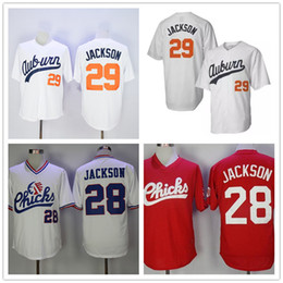 Wholesale Auburn Baseball - Auburn Tigers #29 Bo Jackson white throwback Jersey cheap college vintage 1986 Memphis Chicks #28 red baseball Collection Stitched Jerseys