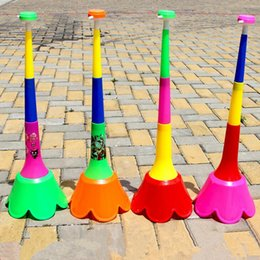 Wholesale Football Favors - Colorful Flower Horn Large Four Section Extending Horn Football Game Cheering Props Trumpet Noise Maker Birthday Party Favors Gift
