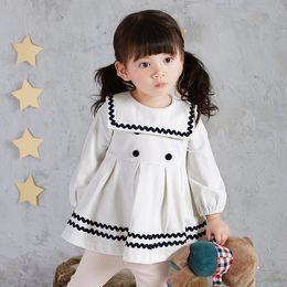 Wholesale Kids School Dress - new arrival Girl dress kids lolita school style 100% cotton Long sleeve Four dots kids girl princess pleated dress 3 colors
