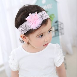 Wholesale Bling Weave - New Baby Girl Bling Bling Crown Pearl Headband Baby Lace Weave Head Wrap Hair sticks Hair Ribbons