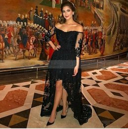 Wholesale Three Quarter Sleeve Prom Dress - Sexy Arabic Designer Black Short Front Long Back Evening Dress Three Quarter Sleeves Lace High Low Prom Dresses 2017 Robe de Soriee