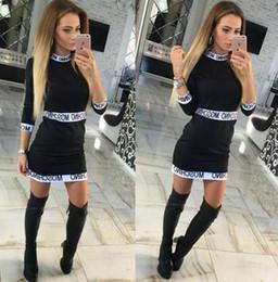 Canada S-XL Lettres Imprimer Femmes Patchwork Dress 2016 Summer 3/4 Manches Casual Sex Robes Plus Taille Bodycon Office Dress Vestidos en gros. cheap plus sizes wholesale bodycon dresses Offre