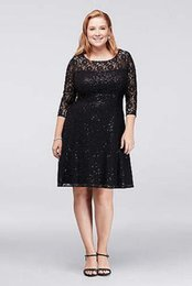 Wholesale Sequin Fit Flare Dress - Mother Of The Bride Dresses Sequined Lace Fit-and-Flare Plus Size Dress Illusion Neckline 3 4Long Sleeve 612145