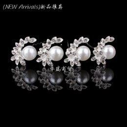 Wholesale Hair Slide Bridal - New Arrival 20pcs Crystal Rhinestone Pearl Flower Women Wedding Bridal Hair Pin Clips Slides Hair Jewelry Free Shipping