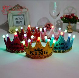 Wholesale Princess Birthday Hats - Led birthday party Prince & Princess crown sequin crown baby Hat Hair Accessories kids Hair Accessory A981