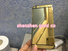 Wholesale 24k Gold Housing - 2018 24ct 24K gold partial black DIAMOND crystal Plating Battery Back Housing Cover Skin for iPhone 6 for iphone 8 golden crystal gold