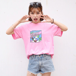 Wholesale Korea Cartoon Shirt - Wholesale-Camisetas Mujer 2016 Korea Ulzzang Institute Harajuku Cartoon Print T Shirt For Women Casual Cotton Pink Short Sleeve Tee Tops