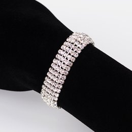 Wholesale Multi Layer Bracelet Crystals - 2017 Elegant fashion rhinestone ladies brief crystal multi-layer tassel bracelet female bohemia The bride adorn article