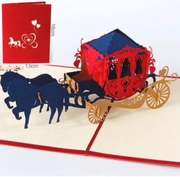 Wholesale Graduation Wishes - 3D Pop Up Paper Kirigami Wedding Invitations Love Carriage Postcards Wishes Gifts Creative Handmade Laser Cut Greeting Cards