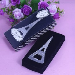 Wholesale Eiffel Tower Favor Boxes - Wholesale- Home Creative Practical Party Favor Gift Eiffel Tower Design Bottle Opener Wedding Bridal Shower Party Favor Gift Boxed