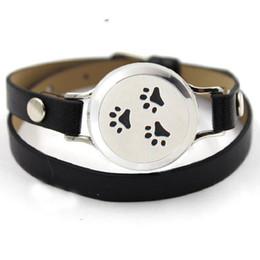 Wholesale Wholesale Paw Clasp - Black Perfume Leather Bracelets Dog Paws Perfume Locket Bracelet For Essential Oil Diffuser Pads
