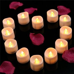 Wholesale Flameless Votive - Candle Light LED Lighted Flickering Votive Style Flameless Candles Wedding Decorations White Faux Candles Flameless Candle Set