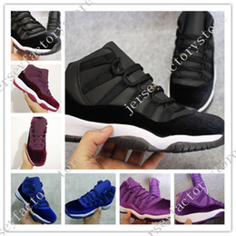 Wholesale Discount Glitter Shoe Laces - Discount Cheap New Retro 11 XI Legend blue black Velvet Mens Basketball shoes Mens Sports shoe Retro 11s bred women Sneaker free shipping