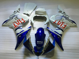 Wholesale Motorcycle Fairing Kit Yamaha Yzfr6 - Motorcycle Fairing kit for YAMAHA YZFR6 2003 2004 YZF R6 YZF-R6 YZF600 R6 03 04 ABS Blue white Fairings set+7 gifts YA01