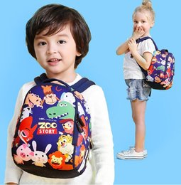 Wholesale Girls Backpack Waterproof - School Bag Cartoon Zoo Story Children Waterproof Backpack Kindergarten Girls Boys Schoolbag Kids Animal Pattern School Bag KKA2048