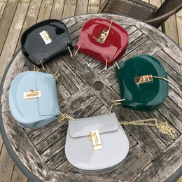 Wholesale Jelly Candy Beach Bag - brand jelly bag summer candy color PVC saddle bag luxury designer chain shoulder bags piggy crossbody bags for women beach purse