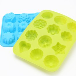 Wholesale Biscuit Moulds - 12 Flower shape Cake Decoration Mould Food Grade Silicone Biscuits Moulds Kitchen Baking High Temperature Resistant Non Slip 3 4zy R