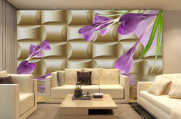 Wholesale Violet Vinyl - 3High Quality Customize size Modern 3D background wall violet 3d murals wallpaper for living room