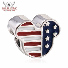 Usa flaggenperlen online-Memnon Jewery 925 Sterling Silber Perlen Mickey USA Flags Emaille Charm Beads für Frauen Berühmte Armbänder DIY Schmuck machen Großhandel DSN034