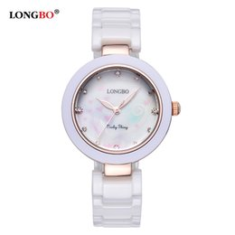 Wholesale China Ladies Dress - Longbo Wholesale Ceramic Watches Shell Stylish Dial Clock Watch China Supplier Timepieces Women Ladies Charm Dress Watches relojes de mujer