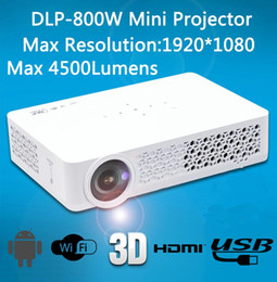 Wholesale Hdmi Pocket Proyector - Active Shutter 3D Android&WIFI Smart 500ANSI Mini Pico Projector DLP800W Miracast HD Pocket HDMI Proyector For Home Cinema