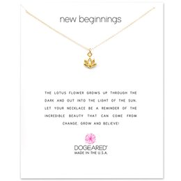 Wholesale Gold Lotus Necklace - With card! Cute Necklace with Lotus pendant (new begnning), silver and gold color, free shipping and high quality.