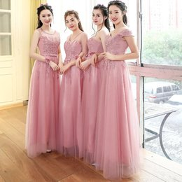 Wholesale Mauve Bridesmaid - 2017 Bridesmaid dresses long design pink color mauve slit neckline slim style fashion lace bridesmaid formal dress