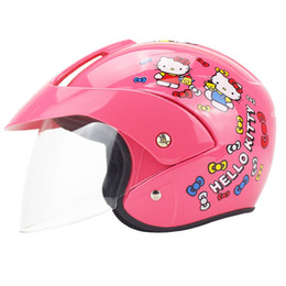 Wholesale Baby Electric Bicycle - factory outlet kids helmets motorcycle half face electric bicycle child baby cartoon four seasons sale safety cascos para moto