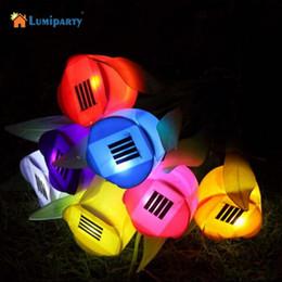 Wholesale Tulip Led Lights - Wholesale- LumiParty 1 PCS LED Landscape Flower Lamp Night Lights Tulip Shape Creative Outdoor Garden Path Way Solar Power LED Light