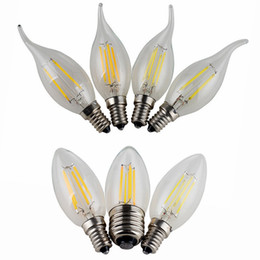 Wholesale Led Lights Dimmable Bulbs - Dimmable LED Filament Candle Light Bulb 2W 4W 6W E14 E12 Led Bulbs Light High Bright Clear Glass C35 Led Lamp