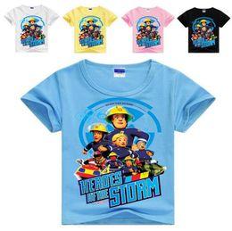 Wholesale fireman t shirts - Fireman Sam kids clothes boys t shirt girls tops children's cartoon shirts boys summer clothing fnaf t-shirt kids boys clothes