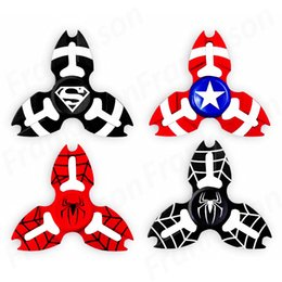 Wholesale plastic toy bat - Metal Avengers Fidget Spinner Tri-Spiner Capt America Bat Iron Man Super Hero Zinc Alloy Spiderman EDS Metal Spinners Toys