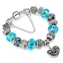 Wholesale Blue Crystal Jewelry Set - Crystal Bracelet Allow Silver Plated Bead With Blue Crystal Heart Panednt Charm Bracelet Women Jewelry AA104