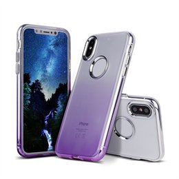 Wholesale Clear Plastic Buttons - For Iphone X Case Gradient Color Clear Soft TPU with Metal Button Back Cover Phone Case For Iphone x