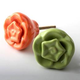 Wholesale Flower Drawer Handles - Mediterranean style Ceramic material drawer Handle Door knob Pastoral retro Bookcase drawer pulls Single hole Flower shape