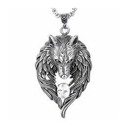 Wholesale Wolf Totem Pendant - Wholesale-Drop Shipping Titanium Steel Wolf Necklace,hip-hop rock Wolf Totem Zircon Design Pendant Necklace Jewelry For Wolves Lover