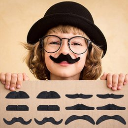 Wholesale Wholesale Mustache - Halloween Self Adhesive Fake Mustache 12pcs Set Novelty Mustaches Party Favor Mustache Black Mustaches for Masquerade Party & Performance