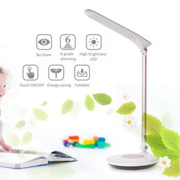 Wholesale Wholesale Desk Beds - Tomshine Foldable Dimmable Touch Sensitive Control LED Desk Lamp 5.5W 300LM 6 Levels Stepless Adjustable Brightness with Power Adapter L1342
