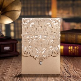 Wholesale New Styles Wedding Invitations - Vertical Gold Classic Style Engagement Wedding Invitations Cards Custom With Rhinestone & Laser Cut Flower,CW5010