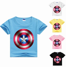 Wholesale Organic Cotton Tee Shirts Wholesale - New Arrival Kids cloting T shirts Children Captain America Printed T-Shirt boys&grils Summer clothes baby Short-Sleeved Round Neck Tops Tees