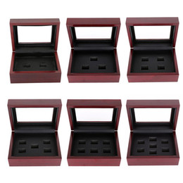 Wholesale Wooden Ring Jewelry Box - Wooden Box Championship Ring Display Case Wooden Boxs Ring 2 3 4 5 6 7 Holes To Choose Rings Boxe